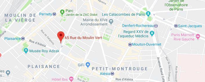 Carte 65+rue+du+moulin+vert,+75014+paris